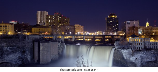 Night skyline of Rochester, New York.