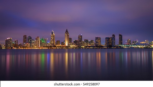 Night skyline of San Diego downtown, California. Long exposure.
