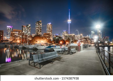 Night skyline of Toronto, Canada from Marina Quay West
