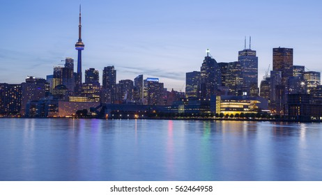 Night skyline of Toronto from Cherry Street. Toronto, Ontario, Canada.
