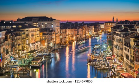 Night skyline of Venice with the Grand Canal, Italy
