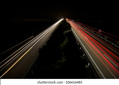 night speed transports at highway in Spain