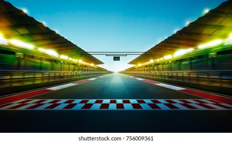 Night speedy motion blur international race track with starting finishing line and light .