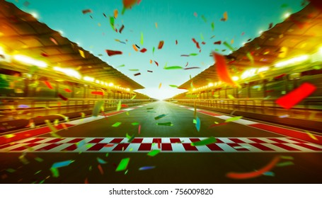 Night speedy motion blur international race track with starting finishing line and confetti.