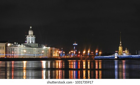 Night St. Petersburg Russia. View of the Peter-Pavel's Fortress.