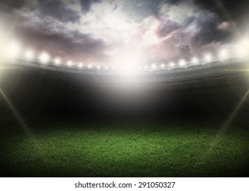 Night, stadium, field.