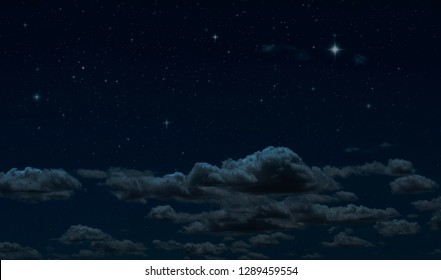 Night starry sky and clouds. Moonlight dark background and stars in the sky. Clean night backdrop.