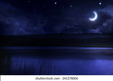 Night starry sky over the forest and the river