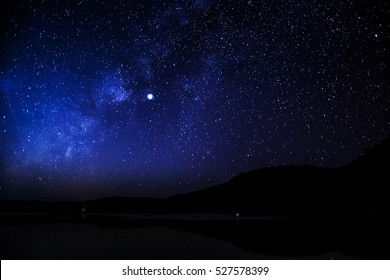 night stars for background , milky way rises on a night sky.