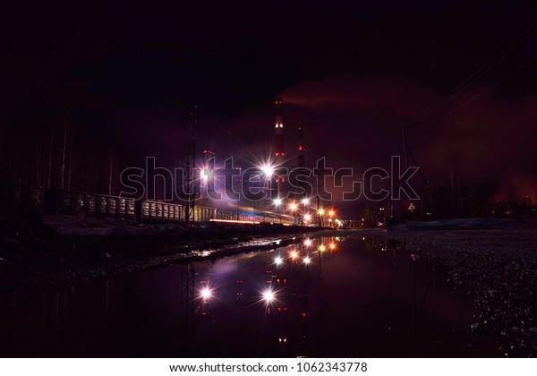 night station and shining lights