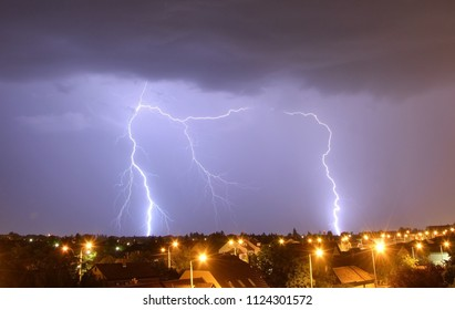 Night storm in the city