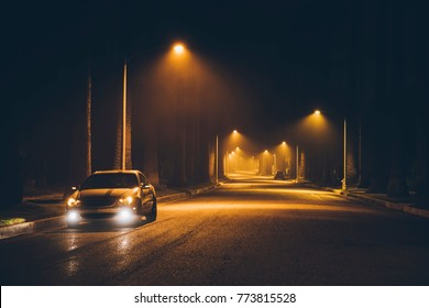 Night street in the fog. Car. Beverly Hills. Los Angeles. California. Nov 2017