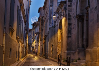Night street in the French city of Arles. Provence. France.