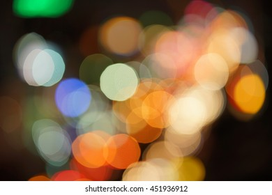 Night street lights bokeh background, abstract wallpaper and soft focus