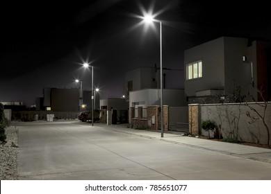 night street modern residential area