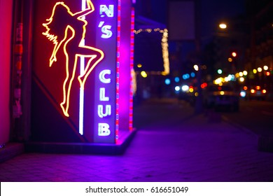 night street, neon sign, men's club, strip club