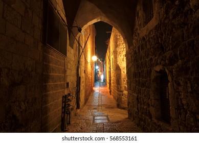 Night street in the old city of Jerusalem, Israel.