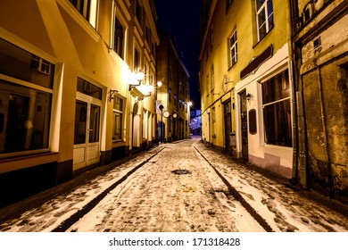 Night street of Old Riga, Latvia in winter time