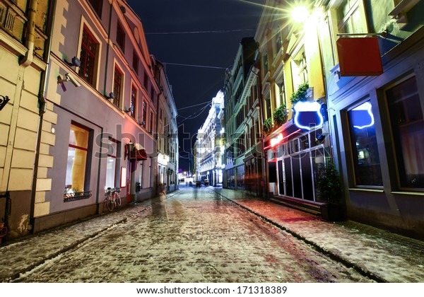 Night street in Old Riga, Latvia at winter time