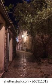 Night street in Old Town Budva