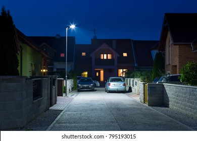 night street in quiet residential quarter