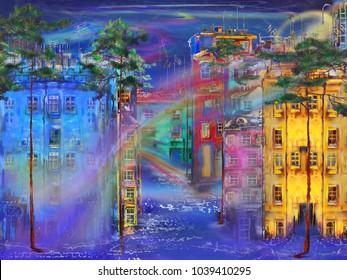 Night street with surreal fog