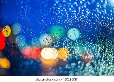 night street through wet window