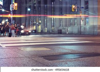 Night Street View, Cities Buildings in Toronto, Ontario, Canada