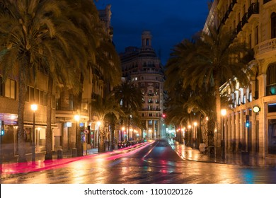 Night street view in Valencia downtown, Spain. Palm Trees in Spanish City of Valencia.