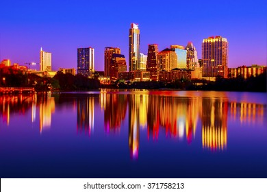 Night to Sunrise Downtown Austin Texas Reflections of City Lights