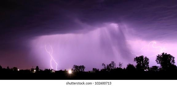 Night thunderstorm with lightnings