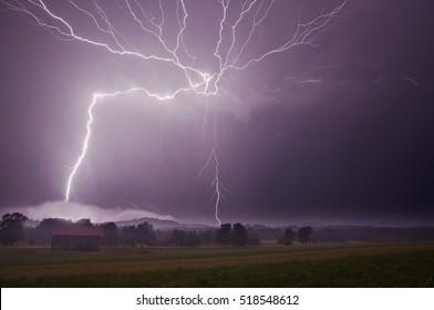 Night thunder-storm. Slovenia, Europe.