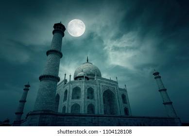 Night Time in Agra Moon over Taj Mahal Mosque in India