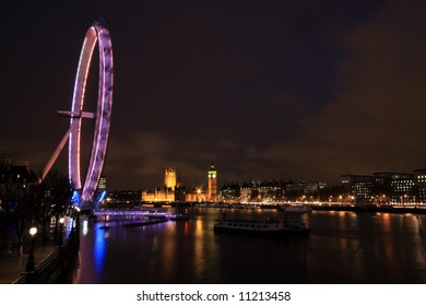 Night time along the River Thames in the centre of London