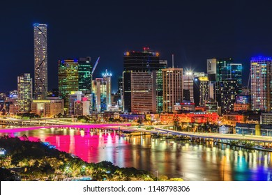Night time areal image of Brisbane CBD and South Bank. Brisbane, Queensland, Australia.