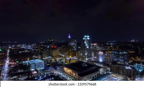 Night time city skyline of Raleigh, NC