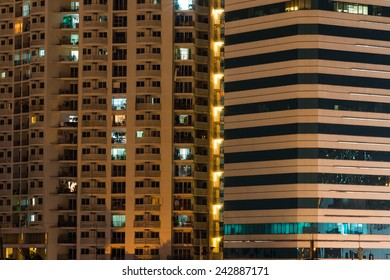 night time of condominium life of City people in modern town