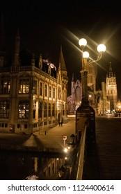 Night time in Ghent Belgium