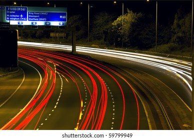 Night time Highway light trails