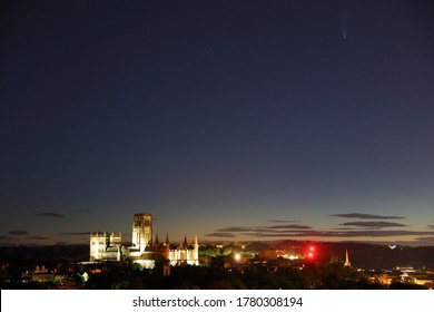 Night time Image of Durham Cathedral in Floodlight after Sunset with Comet Neowise in the Sky. Durham City, County Durham, England, UK.