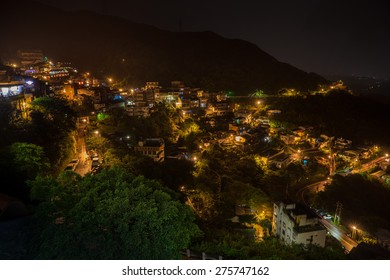 Night time landscape of Jiufen, a famous city that inspired Japanese animation 'Spirit Away'