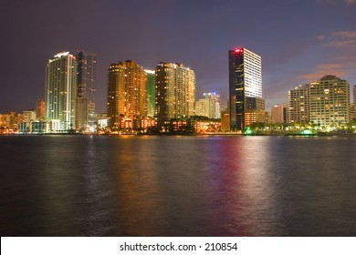 Night time in Miami looking across from Brickell Key
