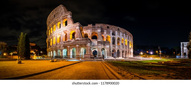 Night time panorama of Colosseum in Rome, Italy
