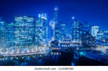 Night time panoramic image of the Chicago River from Wolf Point. Notable elements include: Sears Tower, Boeing building, Chicago River, CTA Elevated train, 333 W. Wacker building (well known for it's