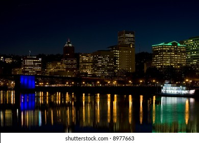 Night time Portland Oregon waterfront