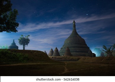 Night time at Ratanabon Paya in Mrauk-U, Myanmar. This place is popular national landmark.