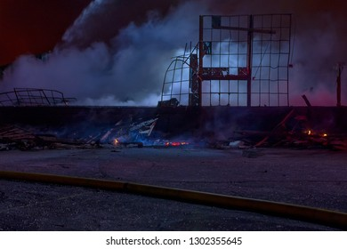 Night time scene at large industiral fire