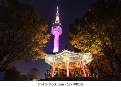 A night time shot of N Seoul tower
