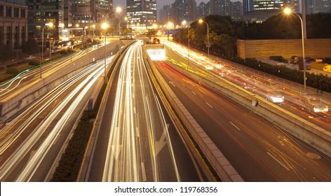Night time shot of speeding traffic shanghai,china