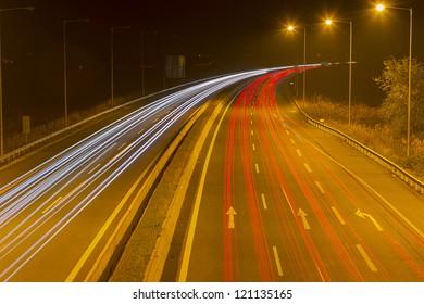 Night time shot of speeding traffic